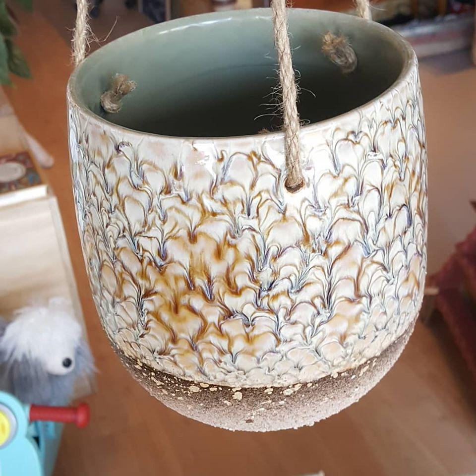 Bloomingville bloempot hangpot multicolor glazuur