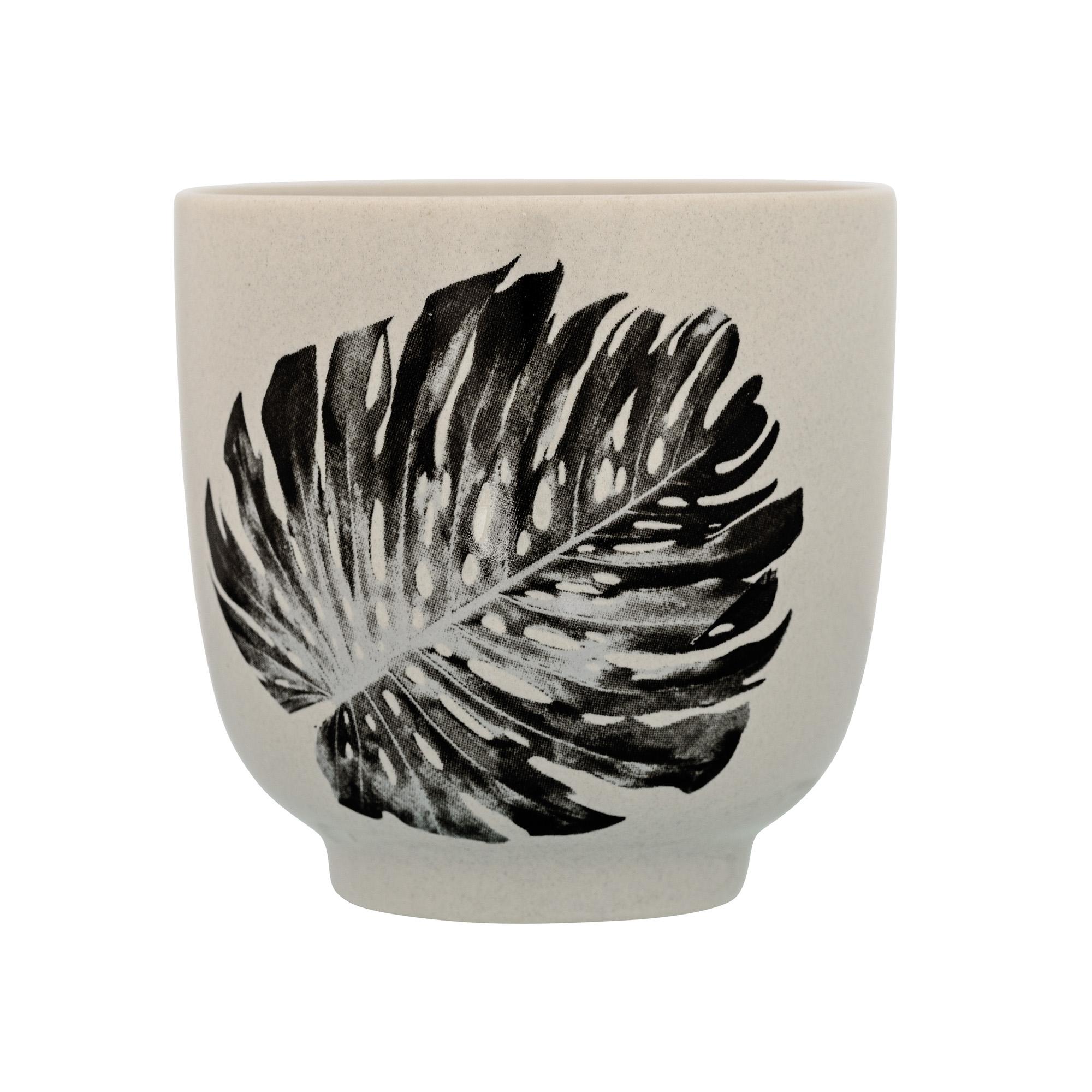 Bloomingville Sooji Cup bloempot Monstera blad grijs