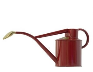 Haws gieter klassiek 1liter metaal staal met koperen broes rood