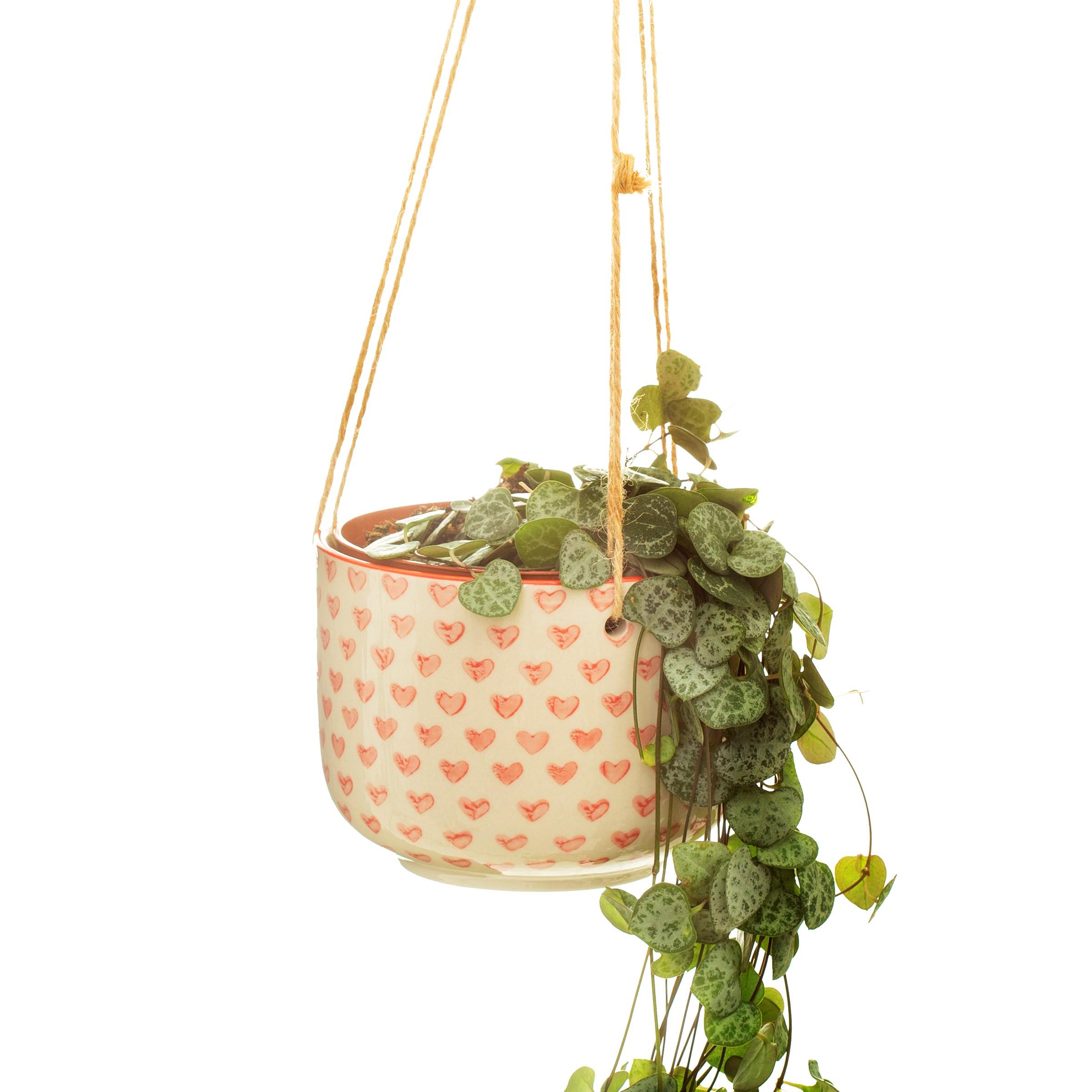 Sass & Belle Red Love Heart hanging planter hangpot