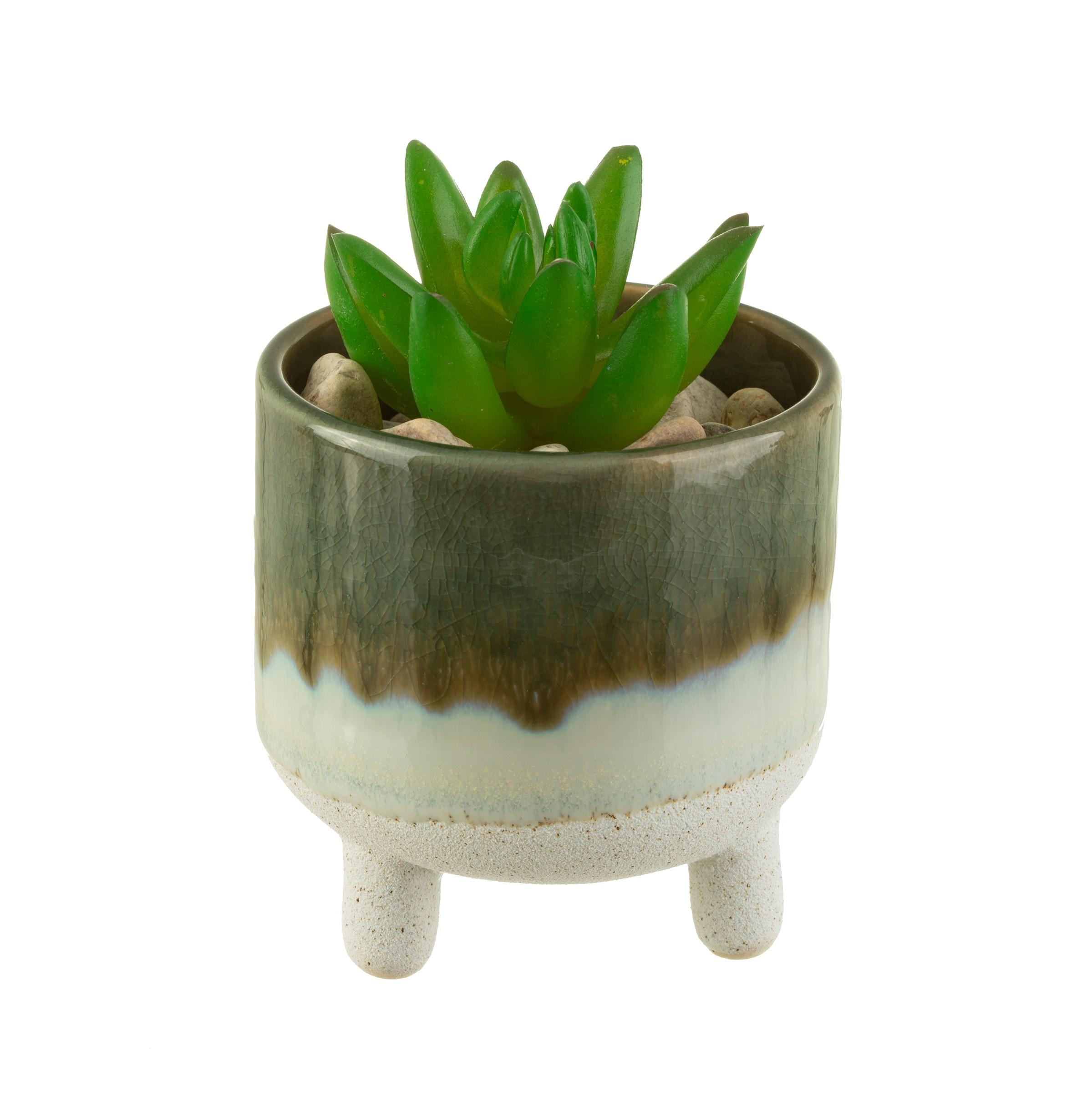 Sass Belle bloempot Mojave glaze green planter groen op pootjes