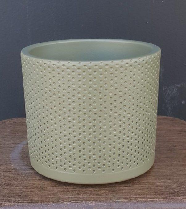 bloempot-tess-olijfkleurig-reliëf-mat-d13cm