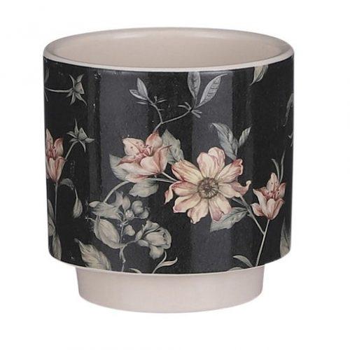 bloempot-mica-journey-zwart-met-bloemen